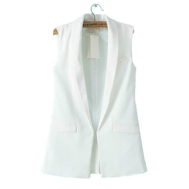 COCKCON Women Formal Vest Coat Sleeveless V Neck Blazers Suit One Button Jacket