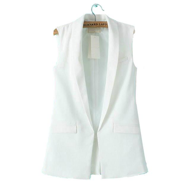 Cockcon mulheres formais colete casaco sem mangas v pescoço blazers terno um botão jaqueta