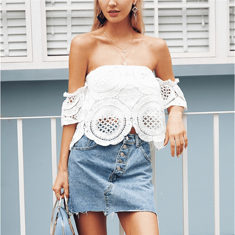 Sexy Women Summer Off Shoulder Crop Top BTS Harajuku Tank tops Lace Short Sleeve Sexy Blouse Lace Floaral Up Tops