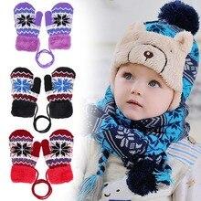 Осенне-зимние теплые детские перчатки, модные варежки для мальчиков и девочек, теплые детские вязаные эластичные утолщенные лыжные перчатки