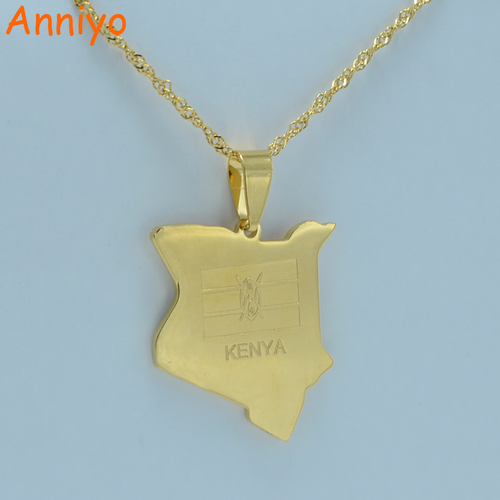 Anniyo map of kenya pendant necklaces jewellery gold color africa country map jewelry kenyans gift #002221 anniyo turkey map