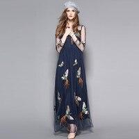 New Mesh Sheer Maxi Dress Women Vintage Phoenix Embroidery Chiffon Dresses Lively Flying Bird Pattern Blue