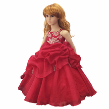 Free Shipping  Selling 2-10 Years Ankle-length Kids Evening Gowns Red Flower Girl Dresses For Weddings Child Party Dress Organza