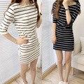Mujeres camisetas verano femme femininas rayas tee o-cuello de la camisa ropa mujer tumblr poleras sección larga femenina de la camiseta