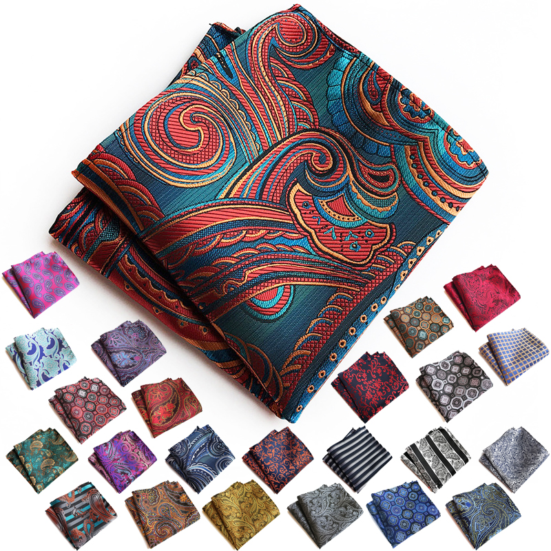 2018 Personality Vintage Pocket Square Fashion High Quality Luxury Polyester Silk Like Floral Striped Handsome Men Accessories