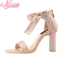 2019 Peep Toe High Heels Women Sandals Brand Designer Cover Heel Party Dress Summer Shoes Sexy Nysiani