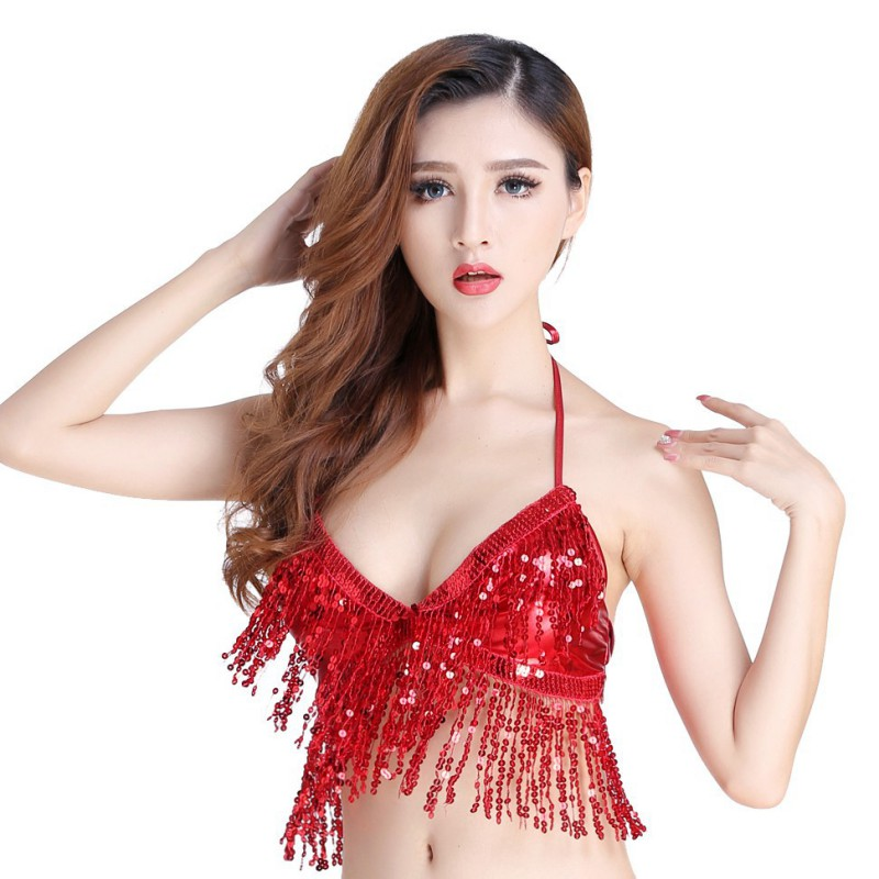 Sexy Sequined Belly Dance Bra Women Latin Fringe Halter Bra Belt Bow Back Bra Performance Party Cosplay Costume