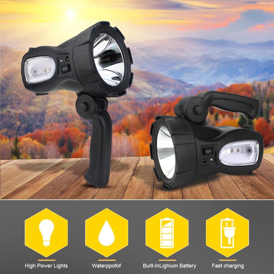 Projecteur de LED très brillante Camping en plein air chasse lampe de poche projecteur Portable lanterne lampe de poche Rechargeable torche