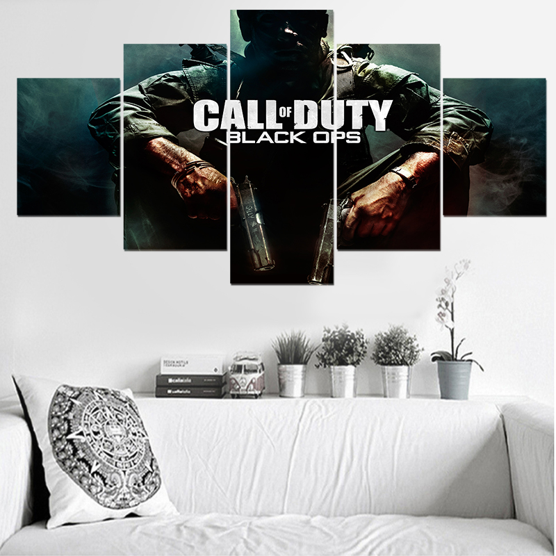 Call of Duty 5 Panel Canvas Painting Star Poster Wall Art Modern Home Decor Living Room Picture