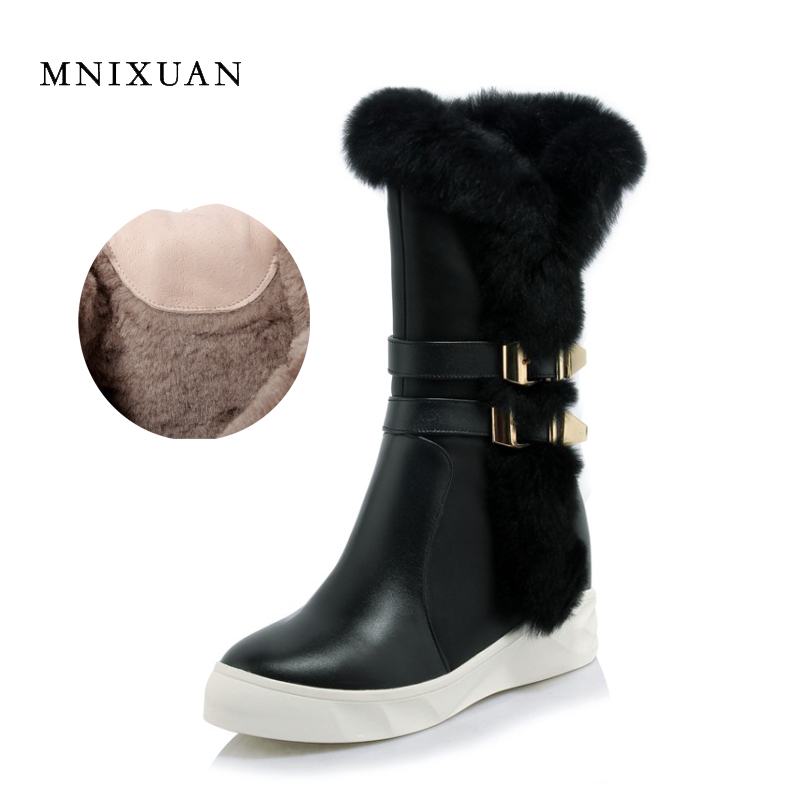 MNIXUAN women shoes snow boots 2017 winter new genuine leather warm with thick plush fur platform increasing height zipper shoes 2017 women warm boots genuine leather height increasing cut out flat platform short plush women ankle boots