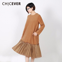 CHICEVER Autumn Dress Female Long Sleeve Black Loose Big Size Patchwork Fake Two Piece Women Dresses