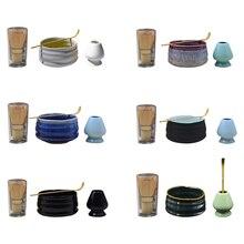 Чайные наборы матча японская церемония матча костюм бамбуковый венчик Матча зеленый чай порошок шлифовальные кисти чайные Инструменты держатель аксессуары