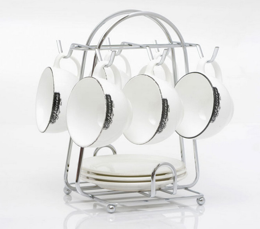 New Hot Kitchen Metal 6 Cup Mug Stand Tea Coffee Holder Dish Storage Tray Rack Lies Accessories In Holders Racks From Home