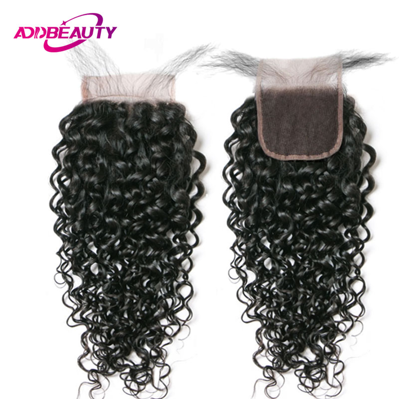 AddBeauty Swiss 4x4 Lace Closure Water Wave Brazilian Remy Human Baby Hair Free Part Natural Color For Black Woman Pre Plucked