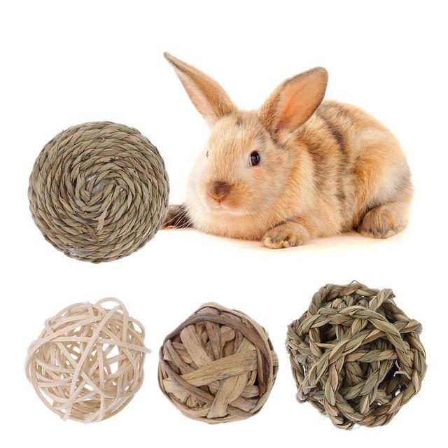 4 piezas mascota pequeña actividad Animal jugar juguetes de bolas naturales para conejos conejillos de indias