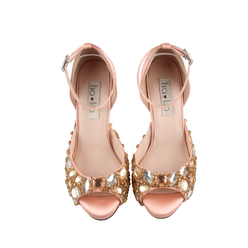 Aliexpress Buy CHS685 Custom Handmade Peach Satin Crystal Bridal Wedding Shoes Dress Pumps Ankle Strap Women High Heels DHL Fast Shipping From