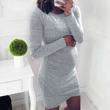 Women Dress Maternity Bodycon Dress Mama Casual Long Sleeve Wrap Dresses Pregnancy Clothes