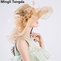 Organza Bride Hat Elegant Hat for Wedding 2018 Wedding Hats and Fascinators Light Pink and Ivory chapeau mariage Mingli Tengda