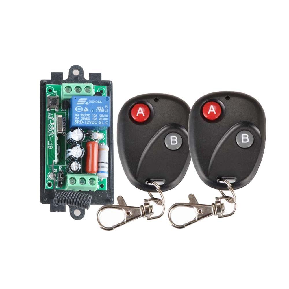 2 V receptor y transmisor 220 V 1CH RF inalámbrico interruptor remoto lámpara de luz LED SMD interruptor de apagado inalámbrico 10A Momenrary Toggle Latched