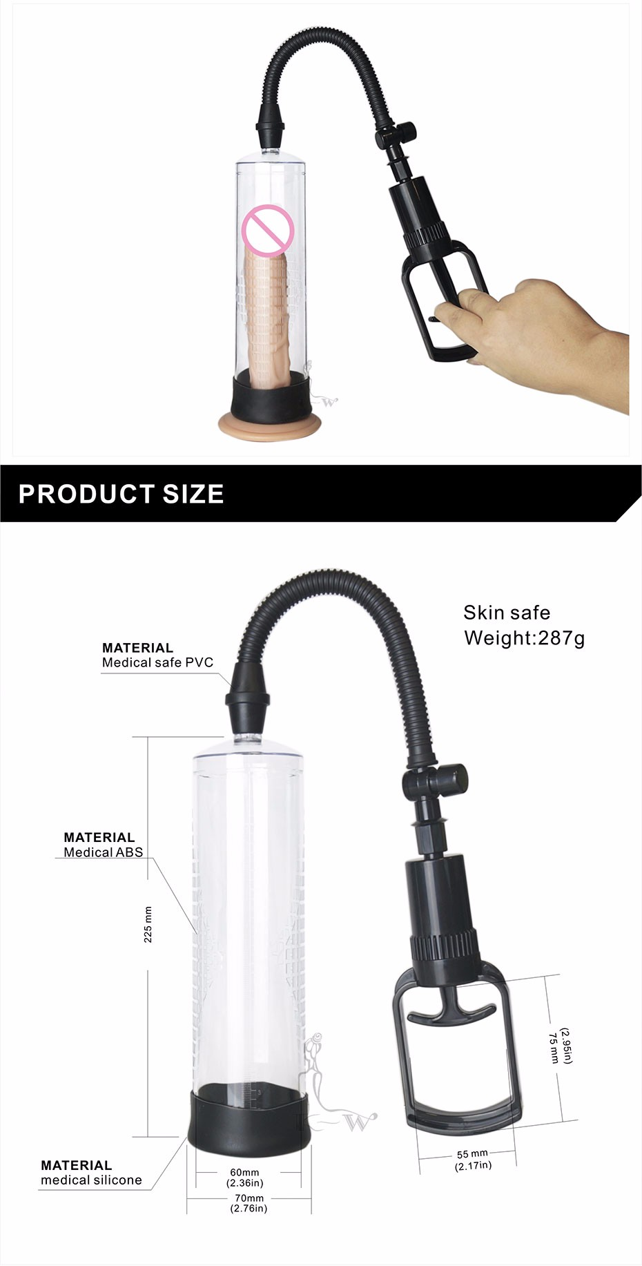 Penis Pump CANWIN Penis Enlargement Vacuum Pump Penis Extender Man Sex Toys Penis Enlarger Adult Sexy Product for Men [22 16
