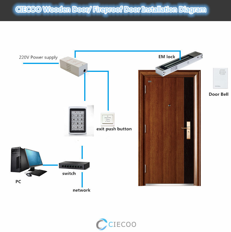 Metal Outdoor Keypad Access Controller full set for wooden door with power supply em lock push button and RFID cards metal rfid em card reader ip68 waterproof metal standalone door lock access control system with keypad 2000 card users capacity