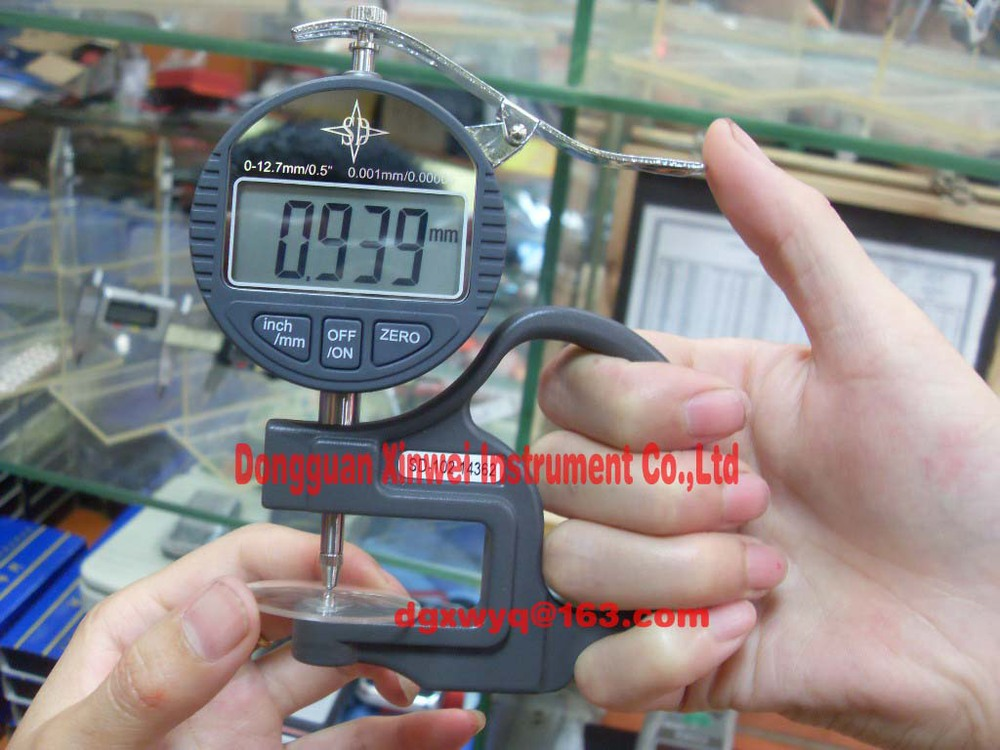 High precision round head thickness gauge/Digital display thickness gauge,Fast delivery new high precision digital micrometer precision thickness gauge 0 12 7mm 0 001mm paper film fabric tape thickness measurement