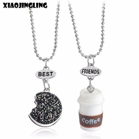 XIAOJINGLING 2Pcs 3D Cute Coffee Oreo Necklaces & Pendants Best Friends Necklace For Women Sweater Jewelry Birthday Gifts 2017