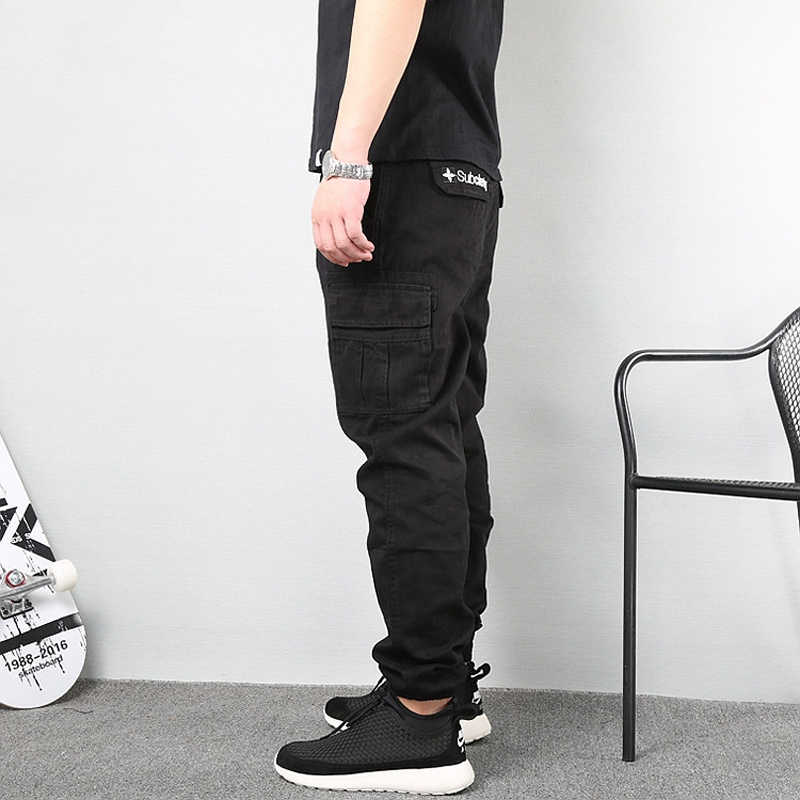 Japanse Vintage Mode Mannen Jeans Loose Fit Grote Zakken Casual Cargo Broek Harembroek Streetwear Hip Hop Joggers Broek Mannen