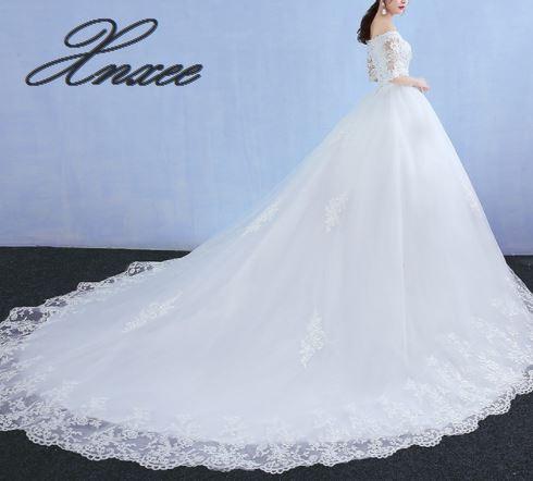 Xnxee une ligne dentelle robe 2019 blanc Tulle robe vestido