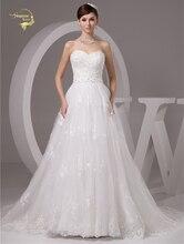 2016 Putih / Gading Mewah Vestido De Noiva Jubah De Mariage Bridal Sebuah Line Tulle Lace Applique Wedding Dresses Casamento YN 9503