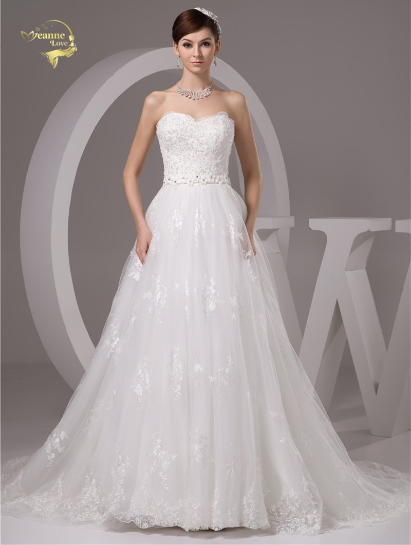 2016 Wit / Ivoor Luxe Vestido De Noiva Robe De Mariage Bridal Een - Trouwjurken - Foto 1