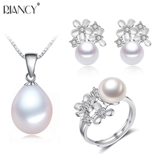 Fashion bridal wedding freshwater flowers pearl jewelry sets for women 925 silver, hot selling natural