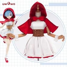 UWOWO  Anime Ram Rem Red Riding Hood Ver Re Zero Kara Hajimeru Isekai Seikatsu Cosplay Costume Women cosplay Full Set все цены