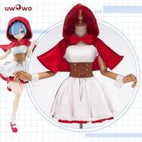 UWOWO Anime Ram Rem Red Riding Hood Ver Re Zero Kara Hajimeru Isekai Seikatsu Cosplay Costume Women cosplay Full Set