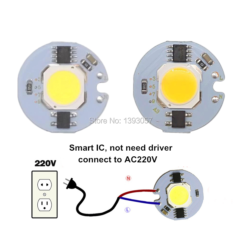 5pcs 3W 5W 7W 9W LED COB Chip AC220V 220V Smart IC Driver 3 5 7 9 watt bulb lamp Light Source For DIY LED Floodlight Spotlight [mingben] 5pcs led cob chip 18w 15w 12w 9w 7w 5w 3w ac 220v smart ic light high lumen chip for bulb diy led spotlight light bead