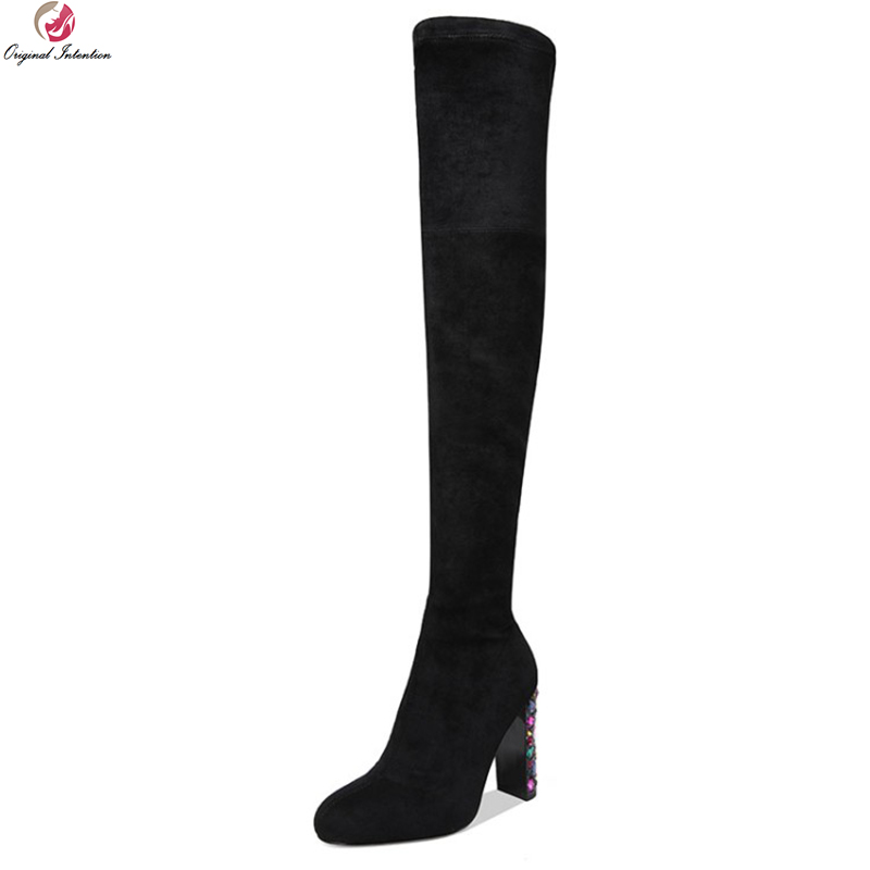 Original Intention New Quality Women Over the Knee Boots Fashion Square Heels Boots Black Brown Grey Shoes Woman US Size 3-9.5 original intention women over the knee boots fashion pointed toe wedges winter boots fashion black shoes woman us size 3 5 13