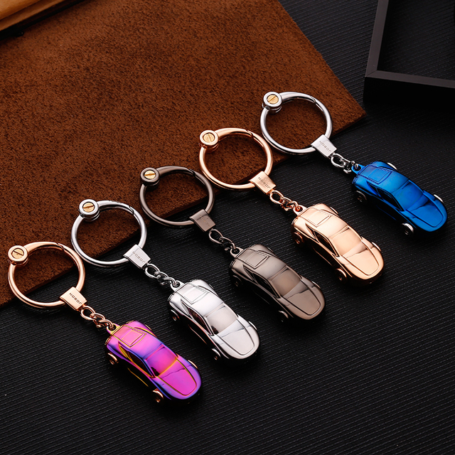 Sports car roadster model keychain key ring LED light key chain key holder high quality sleutelhanger chaveiro llaveros hombre