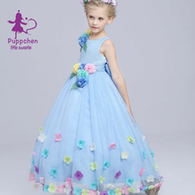 Puppchentop quality wedding dress baby girls clothes carnival costumes children clothing princess floral dresses for girls kids