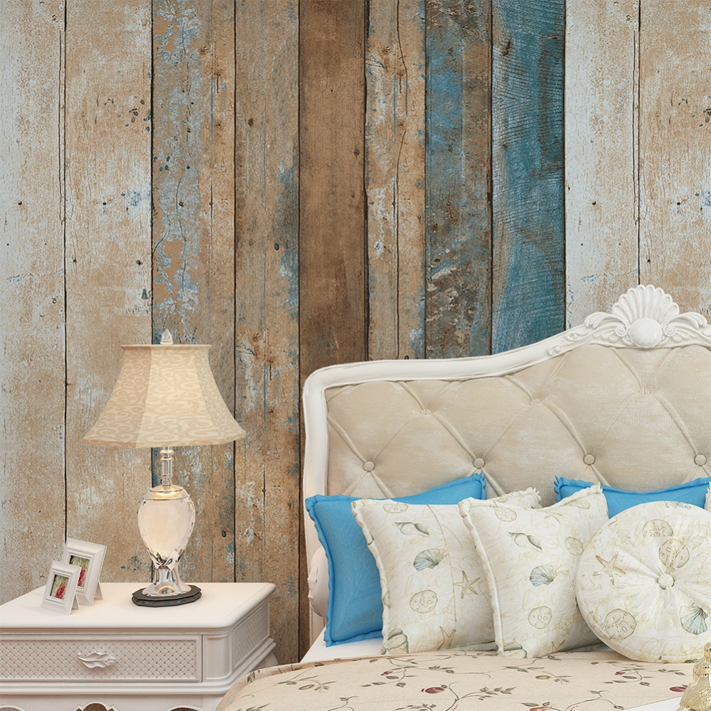 Haokhome vintage wood wallpaper rolls turquoise blue sand for Wallpaper home vintage