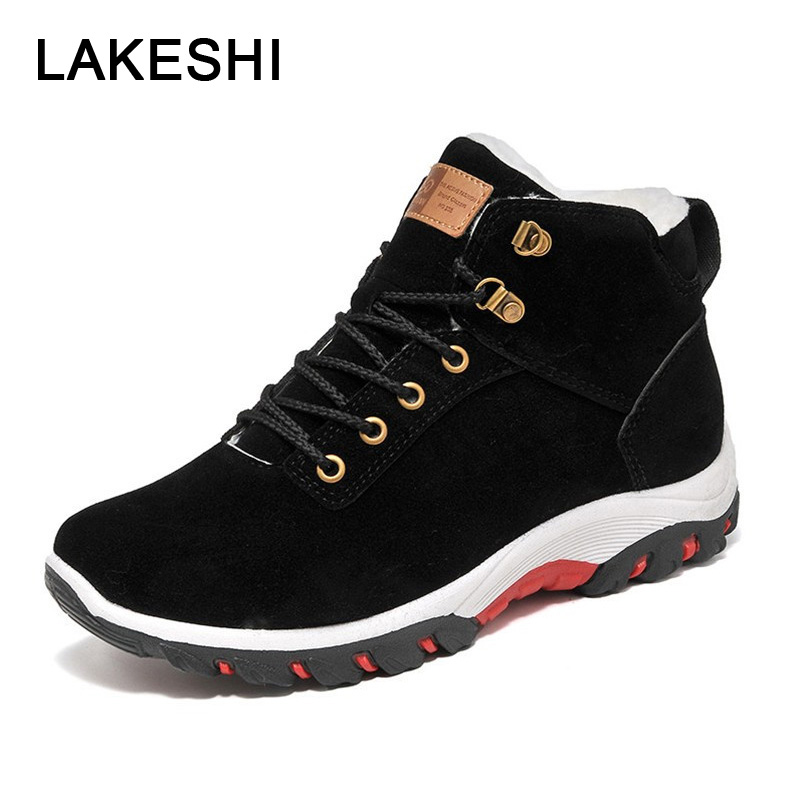 LAKESHI Men Boots Non-slip Snow Boots Men Ankle Boots Fashion Men Fur Boots Winter Keep Warm Man Sneakers Work Shoes 3 Color