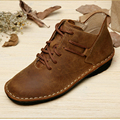 Handmade Flat Shoes Genuine Leather Lace up Oxford Shoes Vintage Burnish Leather Moccasins Ladies Flats (985)