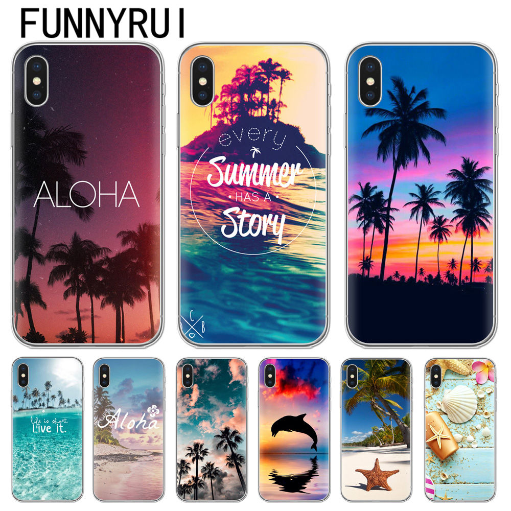 Summer Beach Relax Starfish Ocean Sky Sun Silicone Soft TPU Phone Cases for Apple iphone X 8 7Plus 6 6s Plus 5S SE Coque Cover