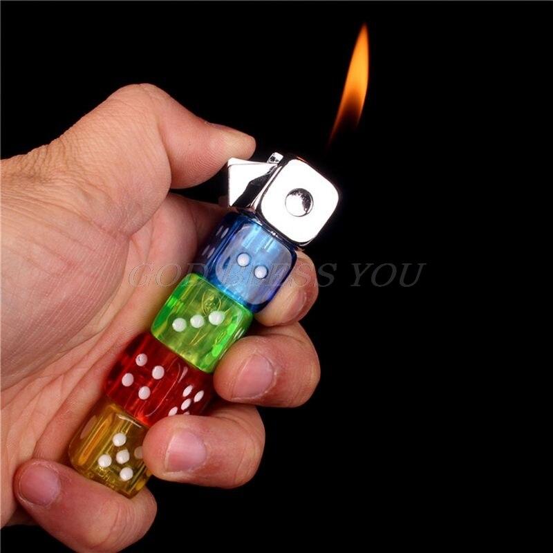 Mini Creative Butane Lighter Colorful LED Dices Model Fire Starter Collection Innovative Men Gift Desktop Decor