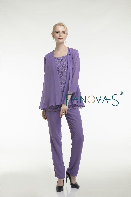 Purple krajka Matka nevěsty šaty kalhoty oblek tři kusy šifon - Šaty pro svatební hostiny - Fotografie 6