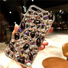 Bling güzel kristal Diamonds Rhinestone 3D taşlar telefon kılıfı kapak için Iphone 6 7 8 artı XS XR MAX için Samsung galaxy S5 S...