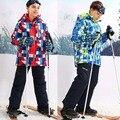 Para-30 Grados Niños Prendas de Abrigo Abrigo Traje Ropa de Los Cabritos Sets Niños Chaquetas a prueba de Viento Impermeable de Esquí Deportivo Para 3-16 T