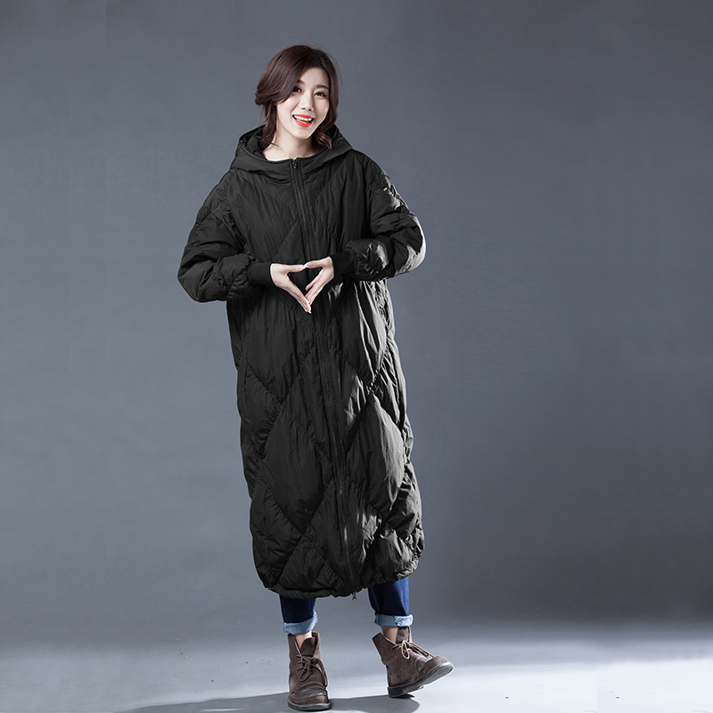X-long loose fit warm white duck   down     coat   women hooded square stitch pleated winter   down     coats