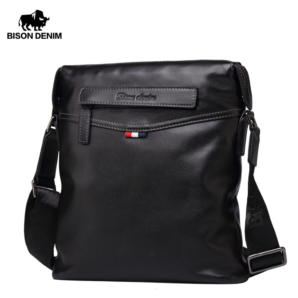 BISON DENIM Bag Men Classic Ekte Lær Crossbody Bag Business Shoulder Bag Stor Kapasitet Ipad Messenger Bag Black N2490-1
