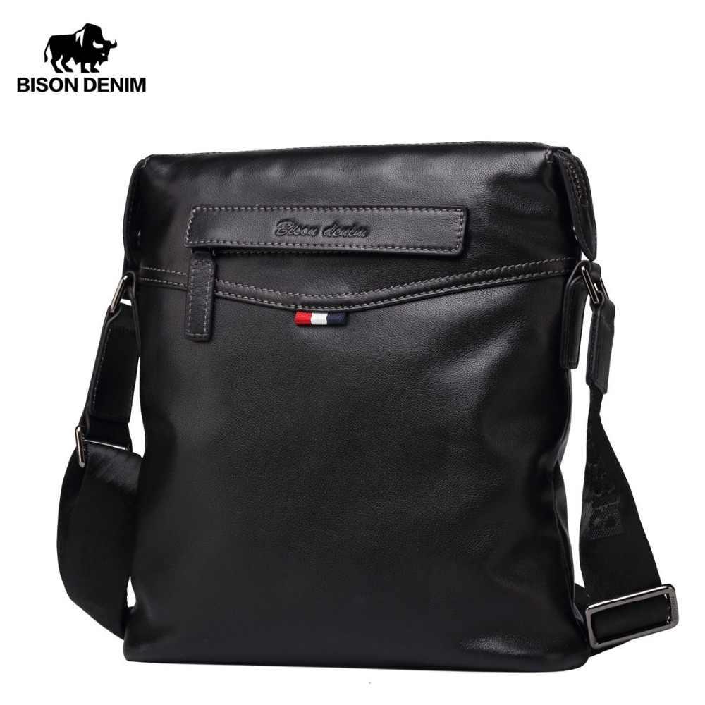 d4c3ffa23da6 BISON джинсовая сумка мужская классическая натуральная кожа сумка через  плечо деловая сумка на плечо большая емкость