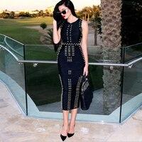 Top Quality New Arrival Black White Sleeveless Studded Beaded Long Maxi Rayon Bandage Dress Celebrity Kim
